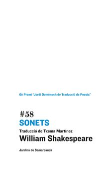 SONETS -SHAKESPEARE, WILLIAM / MARTÍNEZ INGLÉS, TXEMA-9788497663823